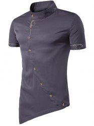 Men Fashionable Sloping Figuring Style Vertical Collar Shirt -