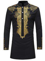 Trendy Ethnic Style Print Stand Collar Long Sleeve Shirt for Men -