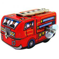 Vintage Wind-up Metal Iron Fire Fighting Truck Toy for Children -