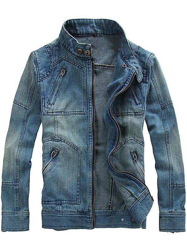 Unique Fashionable Men Stand Collar Denim Jacket with Detachable Hat
