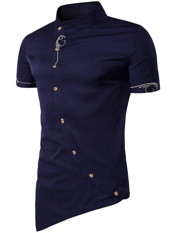 Buy Men Fashionable Sloping Figuring Style Vertical Collar Shirt