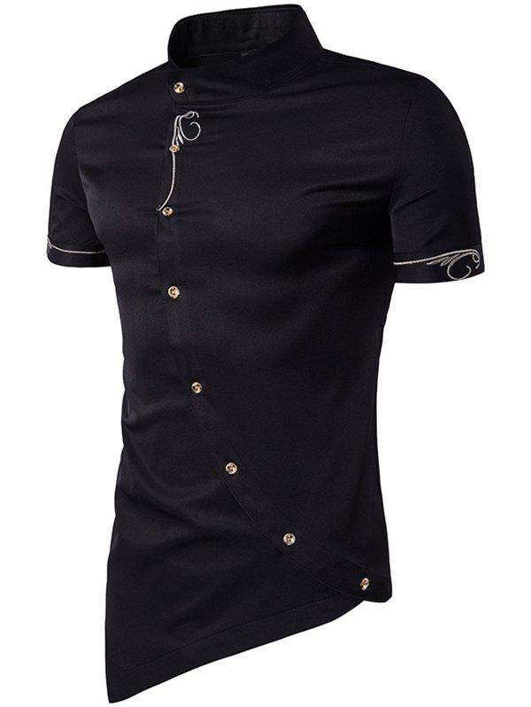 New Men Fashionable Sloping Figuring Style Vertical Collar Shirt