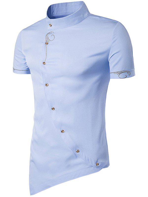 Discount Men Fashionable Sloping Figuring Style Vertical Collar Shirt