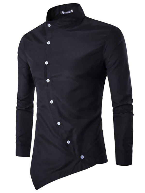 Store Trendy Asymmetric Stand Collar Long Sleeve Shirt for Men