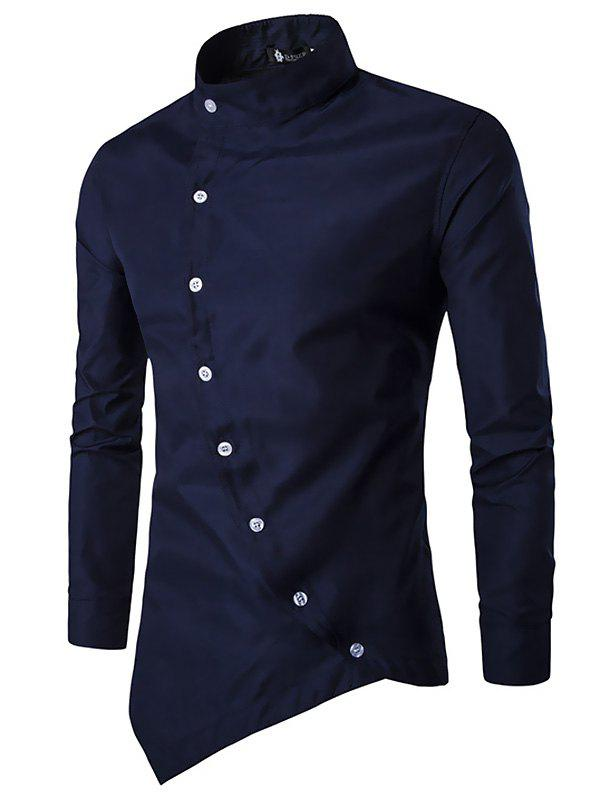Latest Trendy Asymmetric Stand Collar Long Sleeve Shirt for Men