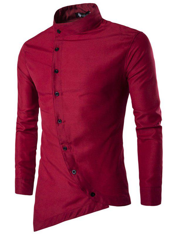 Fancy Trendy Asymmetric Stand Collar Long Sleeve Shirt for Men