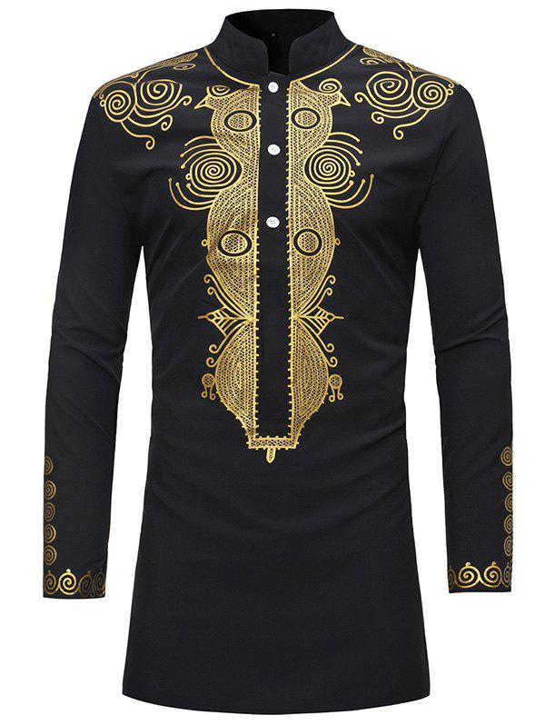 Affordable Trendy Ethnic Style Print Stand Collar Long Sleeve Shirt for Men