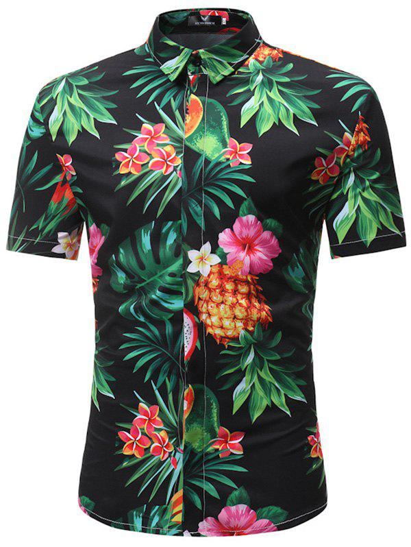 Trendy Trendy Floral Print Short Sleeve Shirt for Men