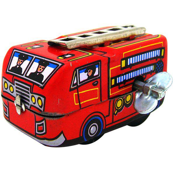 Latest Vintage Wind-up Metal Iron Fire Fighting Truck Toy for Children