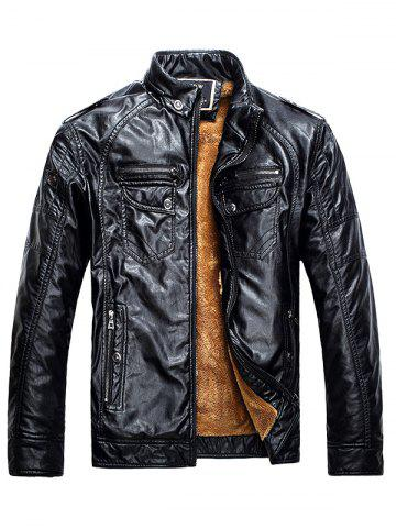 Men Fashionable Stand Collar Short Pile Leather Jacket