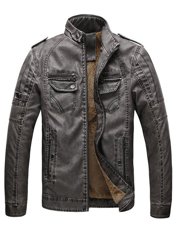 Outfit Men Fashionable Stand Collar Short Pile Leather Jacket