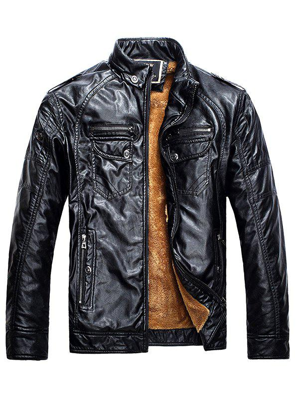Fashion Men Fashionable Stand Collar Short Pile Leather Jacket