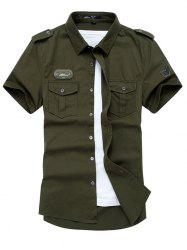 Breathable Stand Collar Military Uniform Short Sleeve Shirt for Men -