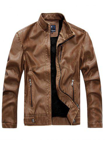 Men Plush Lining Stand Collar Leather Jacket