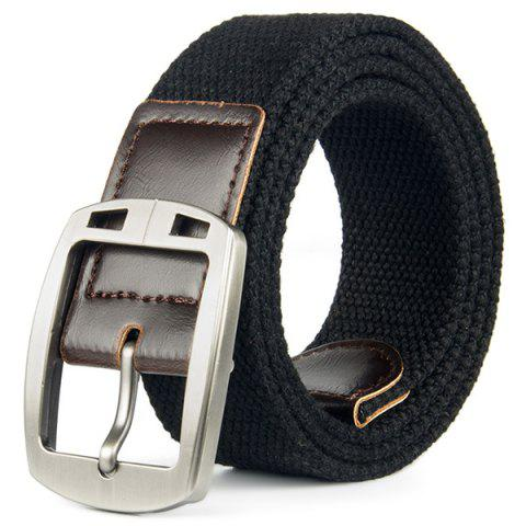 Braided Canvas Belt With Automatic Metal Buckle