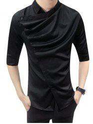 Male Korean Version Trim Shirt with Middle Sleeve -