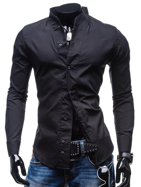 Outfits Solid Color Slim Long Sleeve Men Shirt