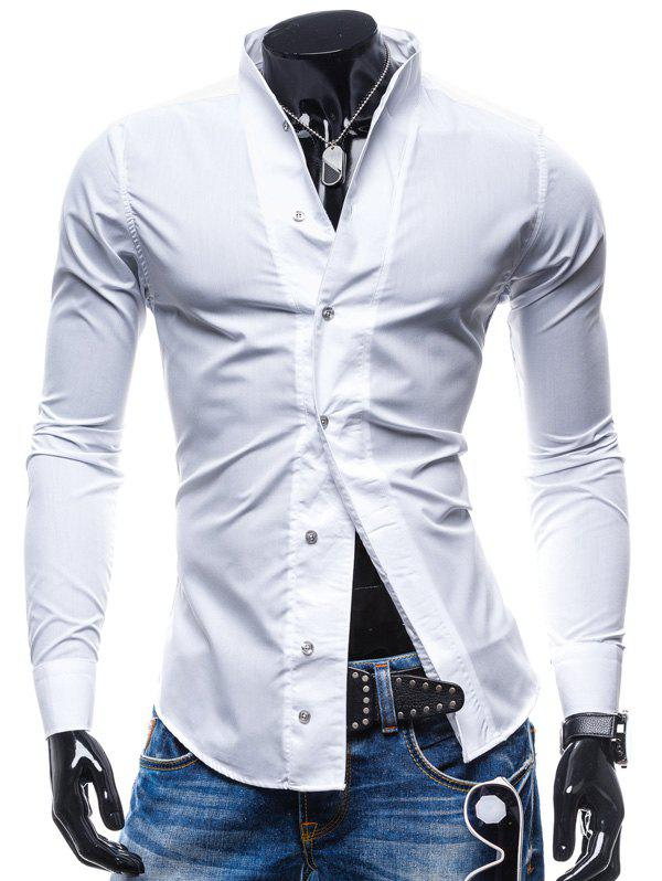 New Solid Color Slim Long Sleeve Men Shirt