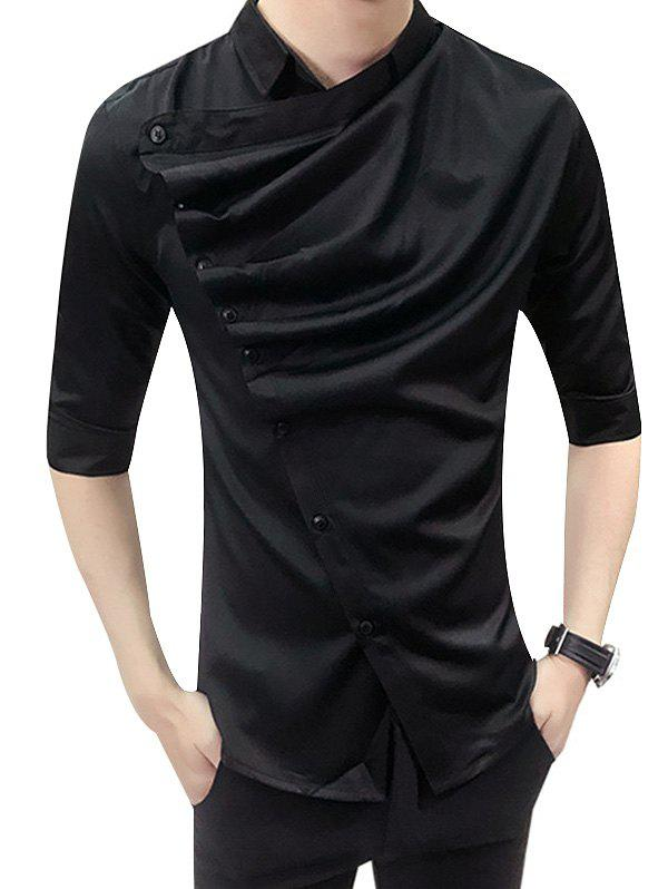 Unique Male Korean Version Trim Shirt with Middle Sleeve