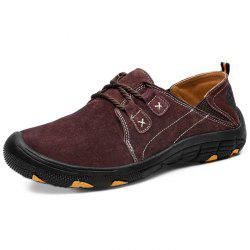 Men Breathable Flat Stitching Casual Leather Shoes -