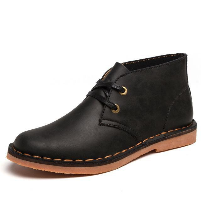 Chic Casual Leather Solid Color Ankle Boots for Man