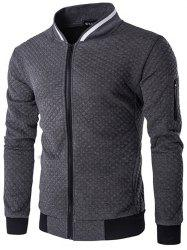Trendy Men Check Pattern Stand Collar Casual Coat Autumn Winter Hoodie without Hat -