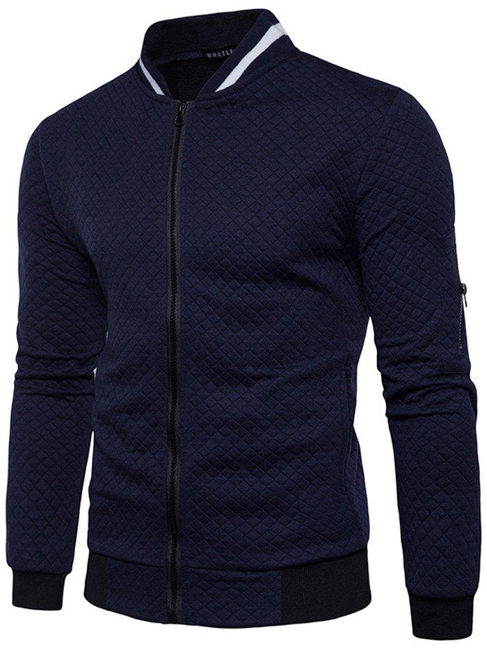 Chic Trendy Men Check Pattern Stand Collar Casual Coat Autumn Winter Hoodie without Hat