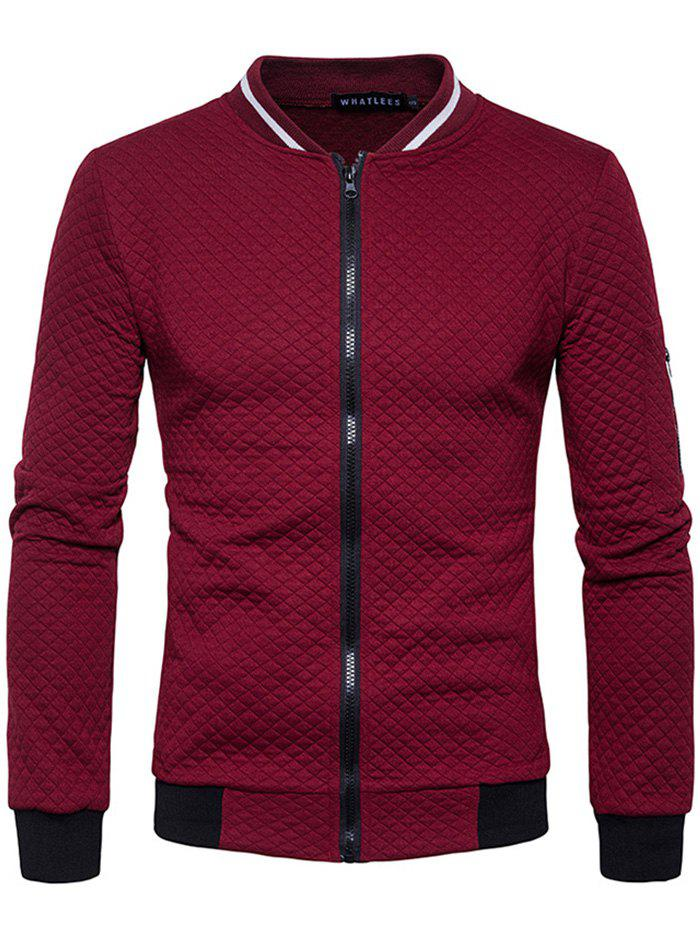 Outfit Trendy Men Check Pattern Stand Collar Casual Coat Autumn Winter Hoodie without Hat