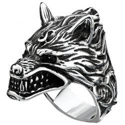 Stylish 3D Metal Wolf Pattern Ring for Men -