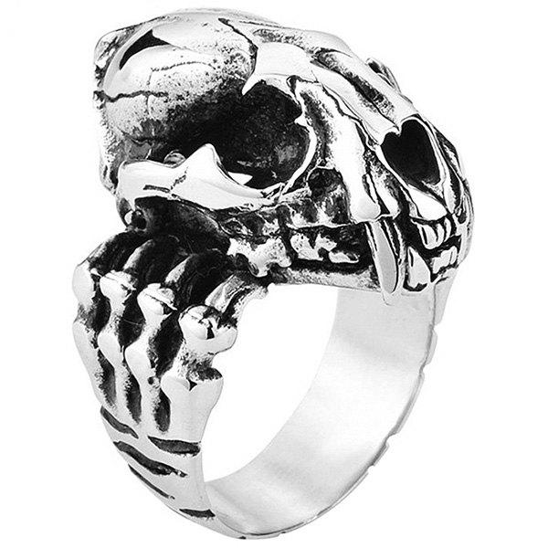 Trendy Stylish 3D Metal Tiger Head Bone Pattern Ring for Men