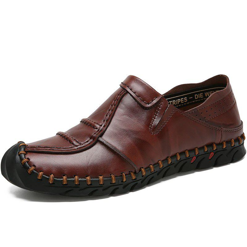 New Casual Leather Solid Color Low-top Loafer Shoes for Man