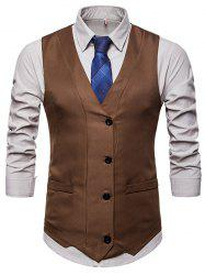 Solid Color Single-breasted Waistcoat for Man -