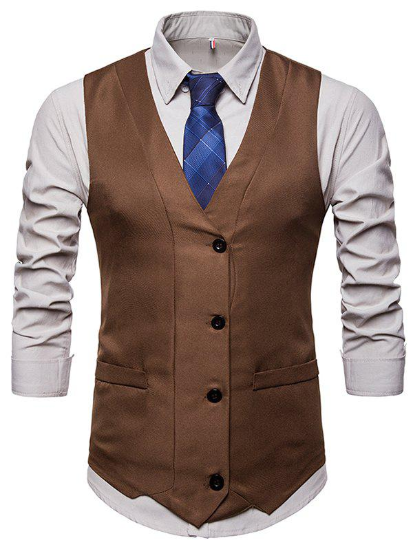 Fashion Solid Color Single-breasted Waistcoat for Man