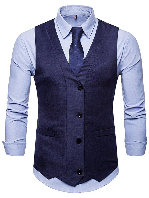 Discount Solid Color Single-breasted Waistcoat for Man