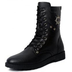 Fashion Wear-resistant Lace-up High Men Leather Boots -