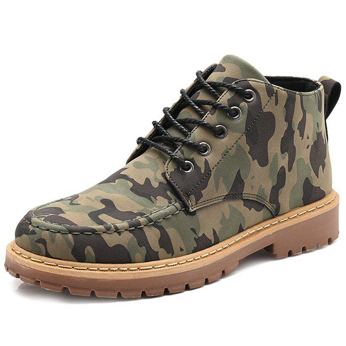 Sale Men Classic Camouflage Pattern Ankle Boots Casual Shoes