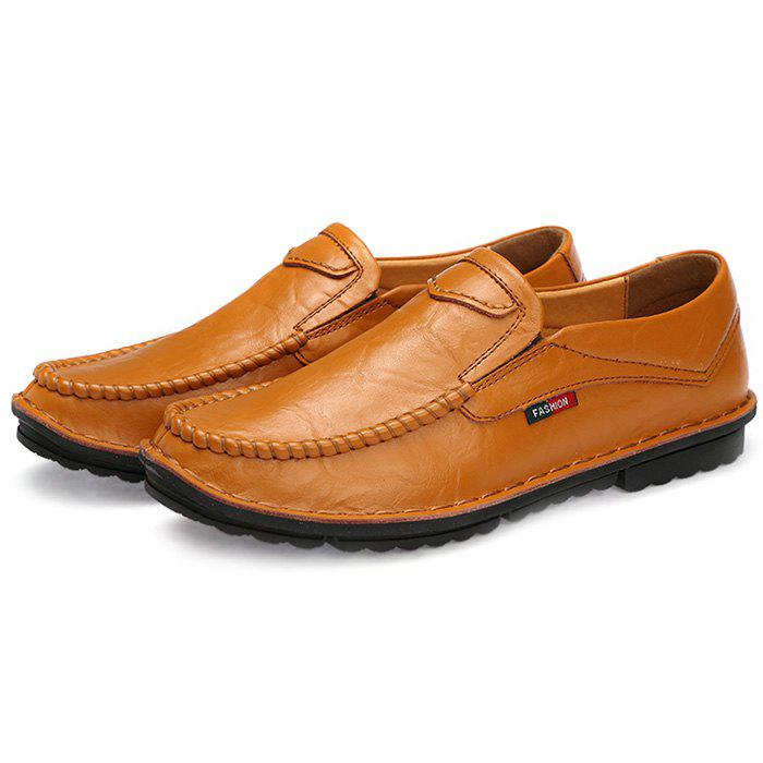 Online Simple Design Leather Loafers for Men