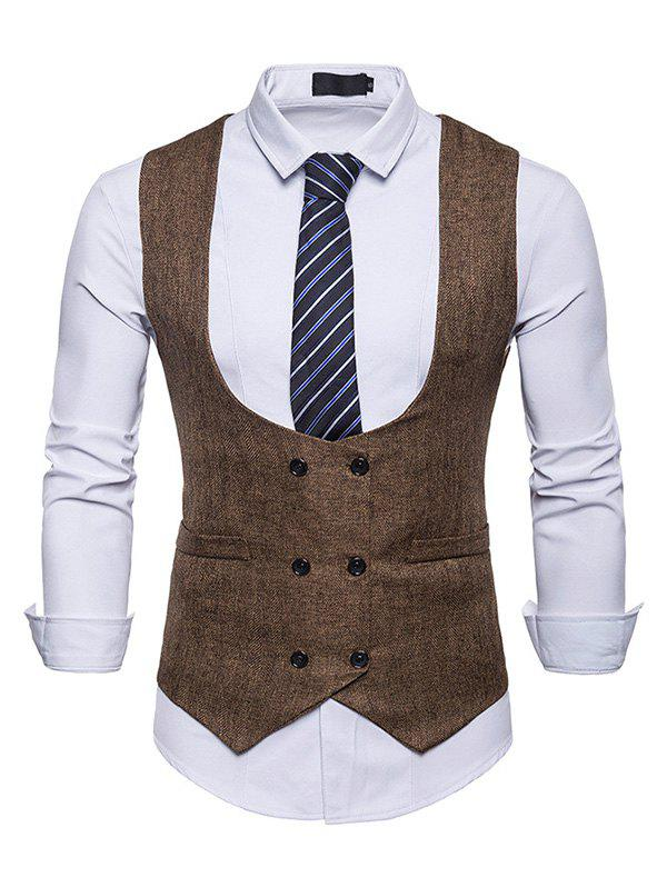 2019 U Neck Double Breasted Suits Vests Waistcoat For Men Rosegal Com