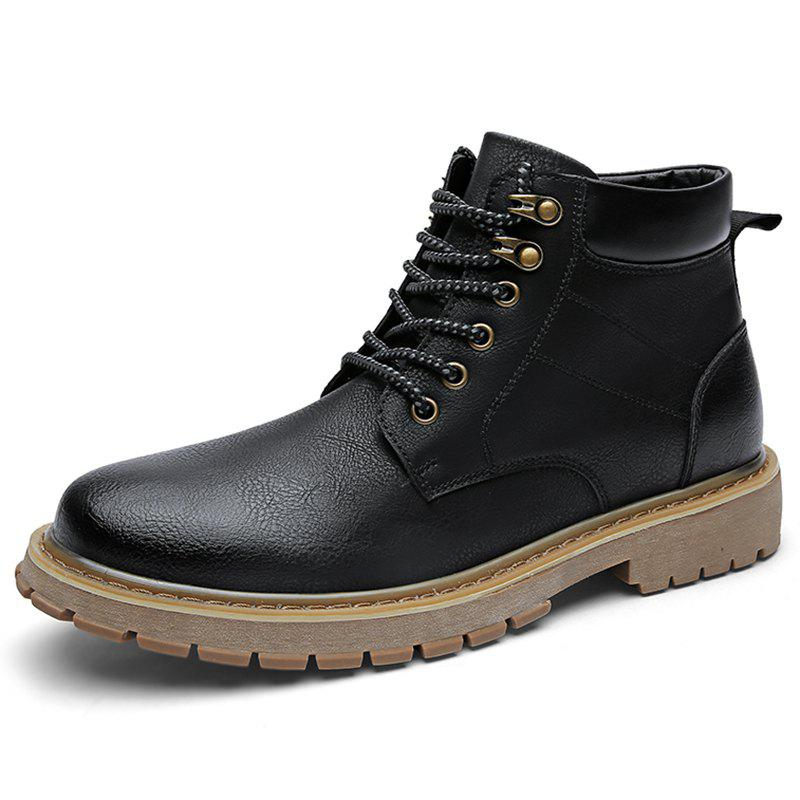 Trendy Microfiber and PU Casual Martin Boots for Men