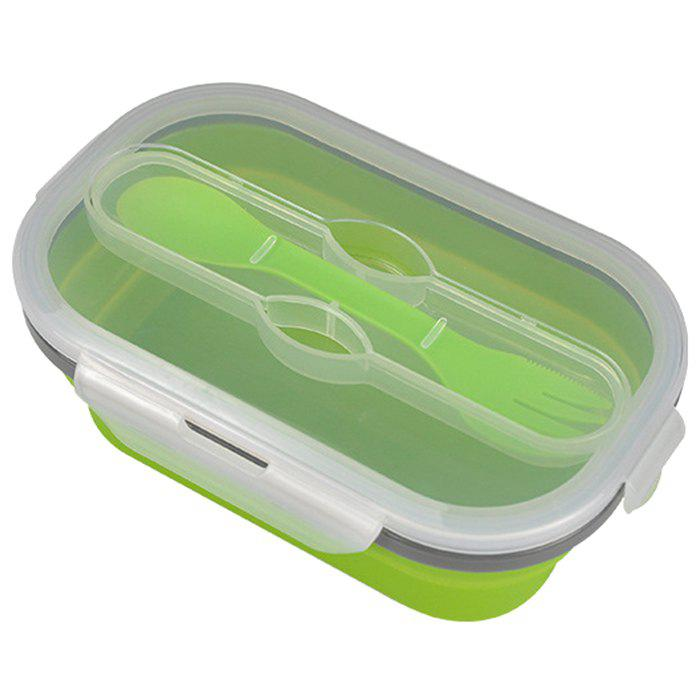 Collapsible Silicone Lunch Box Safe Food Container with Fork Portable Storage Pin for Travel Trip