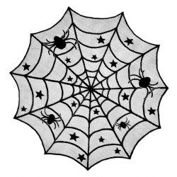 Halloween Lace Table Cloth Black Spider Net Mesh Decoration -