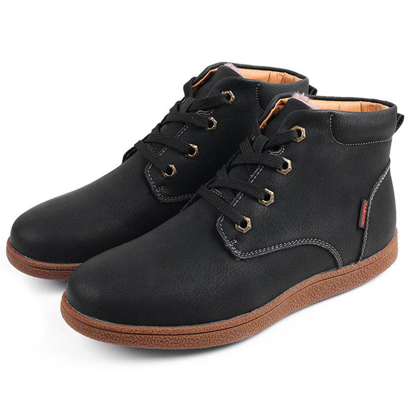 Cheap Men Retro Warm Cotton-padded Leather Boots