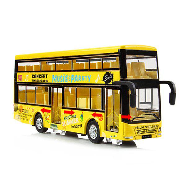 Latest Kids Alloy Pullback Double-decker Bus with Lighting Sound Toy Model
