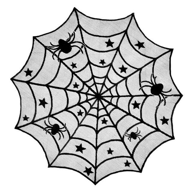 Affordable Halloween Lace Table Cloth Black Spider Net Mesh Decoration