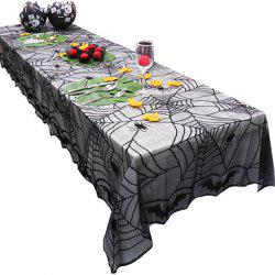 Black Halloween Lace Bat Spider Net Pattern Table Cloth -