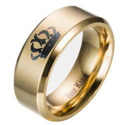Male Crown Pattern Stainless Steel Ring with 8mm Width -