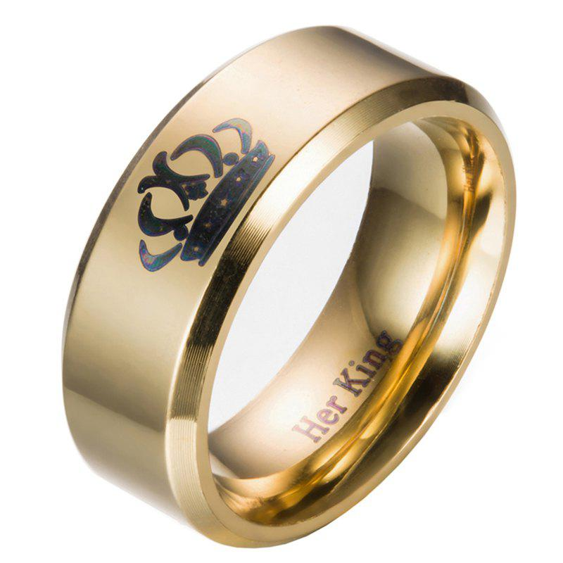 Trendy Male Crown Pattern Stainless Steel Ring with 8mm Width