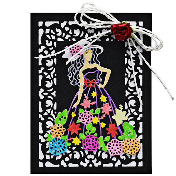 Unique DIY Embossed Carbon Steel Woman with Floral Dress Pattern Cutting Die