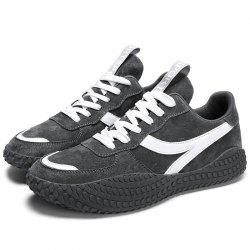 Microfiber Leather Lace Up Casual Sports Shoes Sneakers for Men -