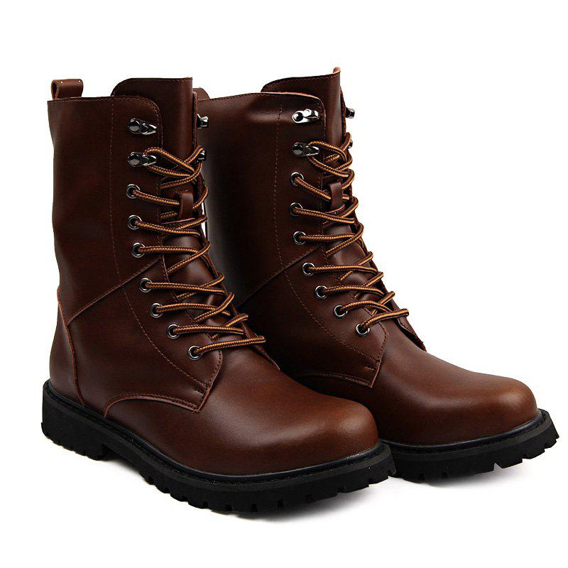 New Genuine Leather Lace Up Tall Boots Shoes for Men